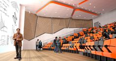 Lecture hall, use of bright color, ceiling design feature, lighting, feature wall Hall Interior, Church Interior, Interior Design, Theatre Design, Hall Design, Auditorium Design, Lecture Theatre, Space Interiors, Church Building
