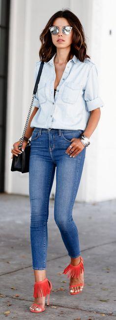 L'AGENCE Margot high-rise skinny jeans | STUART WEITZMAN Lovefringe suede sandals | EXPRESS medium wash denim boyfriend shirt | CHANEL Boy flap bag