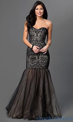 Lace and Tulle Floor Length Xcite Formal Dress with Dropped Waist