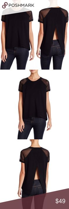 """Elie Tahari Sport Top Sz XS Womans Juliana NWT! You'll love wearing this sport top by Elie Tahari!  Crew neck in a very soft fabric with sheer raglan sleeves and an open back.  Size XS Woman's. Retails for $128.00!  Material:  62% Polyester, 34% Rayon, 4% Elastane    Measurements (lying flat): Chest (underarm to underarm) - 19"""" Length - 25""""  Care:  Dry clean   Thank you for shopping in my closet! Elie Tahari Tops Blouses"""