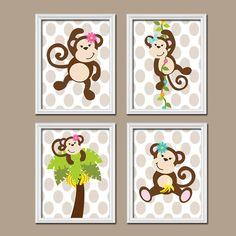 Girl Monkey Jungle Theme Tree Vine Flowers Polka Dot by trmDesign, $37.00