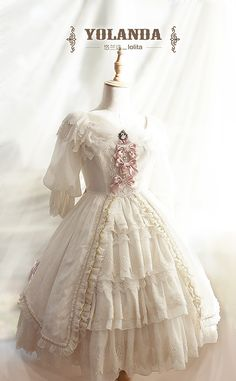 Yolanda~Swan Song~sweet Mid-length Sleeves Lolita OP Dress with Overskirt $ 496.99 - My Lolita Dress