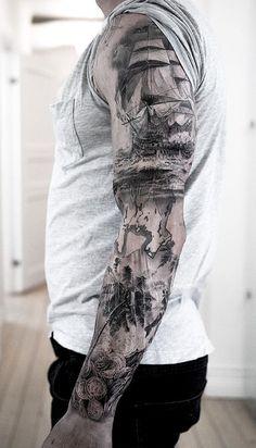 Niki Norberg, the Master of Hyperrealistic Tattoos awesome nautical sleeve © tattoo artist Niki Norberg 💕🌟💕🌟💕🌟💕 Tatoo Pirate, Pirate Tattoo Sleeve, Ship Tattoo Sleeves, Nautical Tattoo Sleeve, Pirate Ship Tattoos, Full Sleeve Tattoos, Tattoo Sleeve Designs, Nautical Tattoos, Nautical Art