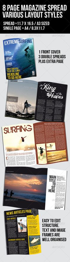 Surfing Magazine - 8 page - 4 layouts - GraphicRiver Item for Sale