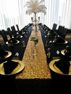 Black Table Linens Gold Charger Plates Napkins Check Out Our Blog To Have Some Tips On How Throw An ULTIMATE Murder Mystery Theme Party