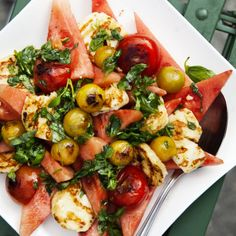 Grillad halloumi med melonsallad - Recept - Tasteline.com Casserole Recipes, Soup Recipes, Salad Recipes, Vegetarian Recipes, Dinner Recipes, Healthy Recipes, Healthy Appetizers, Healthy Snacks, Thanksgiving Recipes