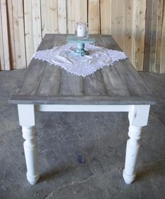 Gray Plank Farmhouse Table - Our own design and finish create a unique look on a barn wood style dining table. Painted Kitchen Tables, Farmhouse Kitchen Tables, Rustic Kitchen Table Sets, Painted Farmhouse Table, Refinishing Kitchen Tables, Rustic Table, Modern Farmhouse, Kitchen Decor, Comedor Shabby Chic