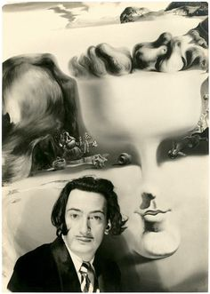 "Salvador Dali at Coco Chanel's Villa ""Pausa"" in front of his painting ""Apparition of Face and Fruit Dish on a Beach"" photo by W. Vennemann c.1940"