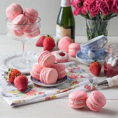 Celebrate Mom with a Beautiful Edible Gift this Mother's Day!  Macarons make a Special Handmade Treat, Especially when Paired with Seasonal Strawberry and Infused with the Delicate Floral Fragrance...