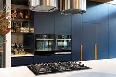 Deakin Residence - Wine shelf Black Interior Design, Interior Styling, Dark Blue Kitchens, Rose Gold Kitchen, Natural Stone Wall, Wine Shelves, Timber Cladding, Modern Kitchen Design, Modern Kitchens