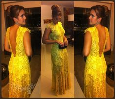 RT160191 Sexy Gold Yellow Backless Casual Beach Embroidered Lace Vintage High Collar Fat Mother of the Bride Dresses