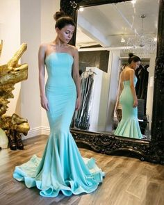 Elegant Long Light Blue Prom Dresses Sexy Strapless Mermaid Evening Dresses 2016 Real Photo Women Party Dresses Formal Gowns