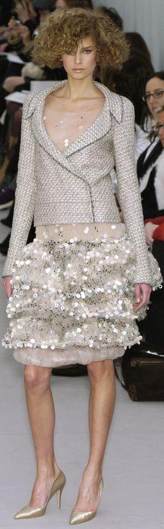 Chanel ~ Light Grey Tweed Jacket over Sequin Embellished Dress
