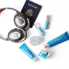 We're so ready for a summer vacation! Must haves: Passport (international travels, of course), noise-canceling earphones (baby cries? no problem), and the LANCER Skincare 'The Method' Deluxe Travel Set.