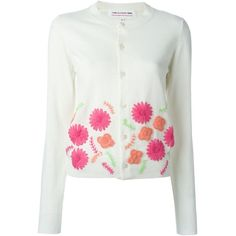 Comme Des Garçons Girl floral embroidery cardigan (2.150 RON) ❤ liked on Polyvore featuring tops, cardigans, white cardigan, white top and cardigan top