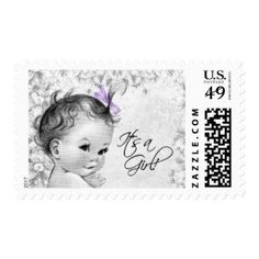 Vintage Lavender Baby Shower Postage Stamp #postage #stamps #customstamps #mail #invites #letters #postage #postage stamp