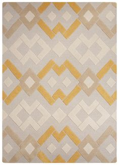 -Shapes and Forms- Milky - Pearly -The shapes in this pattern are diamonds connected together to make a unique different shape with the pop of yellow in it as well. -Rugs in a Modern entryway Wall Patterns, Fabric Patterns, Big Area Rugs, Modern Entryway, Entry Way Design, Interior Rugs, Fabric Rug, Tiles Texture, Patterned Carpet