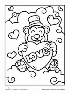 Valentine's Day Preschool Holiday Worksheets: Valentine Bear Coloring Page