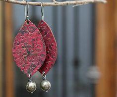 Boho earrings, Copper earrings, Rustic earrings, Patina jewelry, Red earrings, Leaf earrings