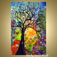 Original Whimsical Painting SPRING OLIVE TREE by LUIZAVIZOLI