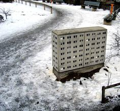I'm very much liking the work of Evol at the moment, a young German(?) graffiti artist.    He paints street furniture, control boxes and bits of left over urban detritus to look like mass housing, complete with the forests of satellite dishes and darkly recessed balconies that we can all instantly recognise…    http://wharferj.wordpress.com/2012/02/02/evol-street-artist-extraordinaire/#