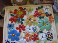 wip of flowers (using cups) By Poppins Mosaics and Crafts inspired by Solange Piffer Mosaics