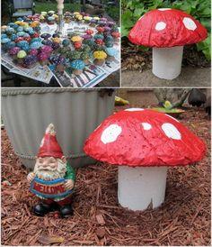 déco-jardin-béton-champignons-blanc-rouge-béton déco de jardin