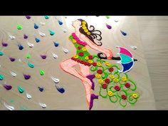 Rainy season welcome rangoli designs/cute gorgeous girl rangoli designs by jyoti Rathod Indian Rangoli Designs, Rangoli Ideas, Colorful Rangoli Designs, Beautiful Rangoli Designs, Kolam Designs, Mehandi Designs, Diwali Craft, Diwali Rangoli, Welcome Rangoli