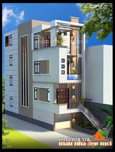 3 Storey House Design, Bungalow House Design, House Front Design, Small House Design, Dream Home Design, Modern House Design, Model House Plan, House Plans, Facade Design