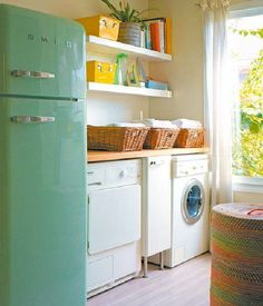 Give everyone their own laundry basket, colored towels and laundry day. Have a hook on the back of their bedroom door where they hang their towel and wash cloth and wash it on their laundry day along with their clothes. Keep two bins in the laundry room: one for cleaning rags and mop covers and the other for cloth napkins and kitchen towels. (image via hometrenddesign.com)