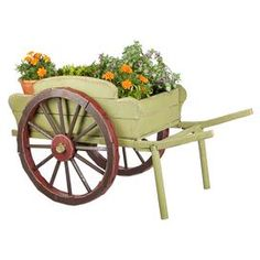 "Showcasing a rustic wheelbarrow design, this country-chic planter delights in the sunroom or nestled in your garden.  Product: PlanterConstruction Material: WoodColor: GreenDimensions: 27.56"" H x 49.61"" W x 24.8"" D Note: Plants are not included"