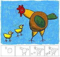 poule dessin art projects for kids Easy Art Projects, Drawing Projects, Projects For Kids, Drawing Ideas, Drawing Art, Chicken Drawing, Chicken Art, Drawing For Kids, Art For Kids