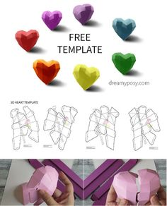 Free template for DIY 3d paper heart, paper heart #freetemplate, #paperheart, #3dheart