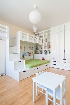 Loft Bed Plans, Double Bunk Beds, Ikea Kids Room, Kids House, Boy Room, Girls Bedroom, Room Inspiration, Interior Architecture, House Design