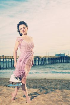 Why would Sasha Cohen ( an american Figure Skater) be on a beach with Skates?