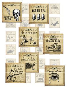 Antique Fantasy Potion Labels 1x1 inch digital collage sheet - on etsy