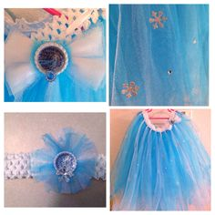 "Elsa ""frozen"" tulle skirt with matching headband and bow"