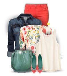Colorful Spring  by pinkroseten on Polyvore featuring H&M, Karen Millen, Joe's Jeans, Qube, Louis Vuitton, Kendra Scott, MANGO and Trilogy
