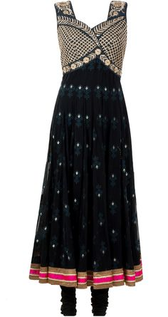 Black embroidered anarkali available only at Pernia's Pop-Up Shop.