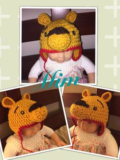 Crocheted Winnie the Pooh inspired by http://www.tinymoon.org/2014/09/winnie-pooh-crochet-hat-pattern-for.html?m=1