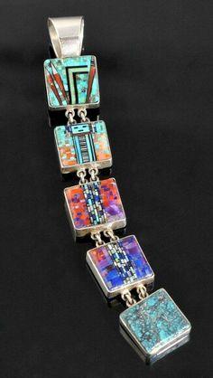 Bracelet (or pendant?) by Irene Clark, Navajo artist. Navajo Jewelry, Southwest Jewelry, Ethnic Jewelry, Metal Jewelry, Jewelry Art, Gemstone Jewelry, Silver Jewelry, Fine Jewelry, Fashion Jewelry