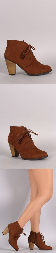 Qupid Suede Western Cowgirl Lace Up Ankle Boots 11981e8698
