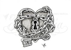 Heart lock & key tattoo I feel like this is us to a T our hearts all chained up n waiting for someone to unlock them!!!!!!