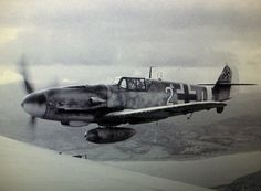 The Messerschmitt 109 G-6 pilot of JG 27 Emil Clade, photographed from a Heinkel 111 in January 1944 on Crete