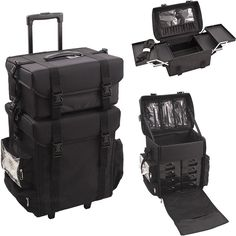 2 In 1 All Black Nylon Soft Sided Professional Rolling Makeup Case With Drawers And