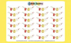 Laundry Planner Stickers Clothes Line