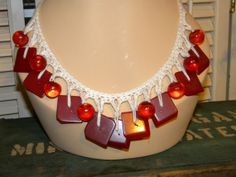 Red Bakelite Button Necklace Juicy Cherry Red by PeppermintPigs, $45.00  #bestofetsy  #boebot2 #etsybot2 #vintage #fashion