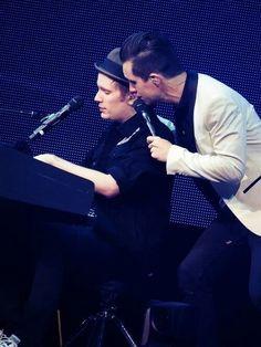 Patrick Stump with Brendon Urie<<<This is a ship isn't it? I'm scared to know but what's the ship name