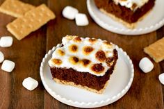 HG Brownie S'mores Smores Bake Cake (mini marshmallows, egg whites, pumpkin, black beans, low fat graham crackers) | hungry girl