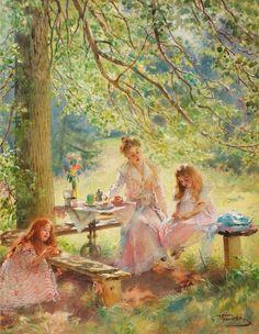 К.Е. Маковский. Портрет жены художника с дочерьми Ольгой и Мариной